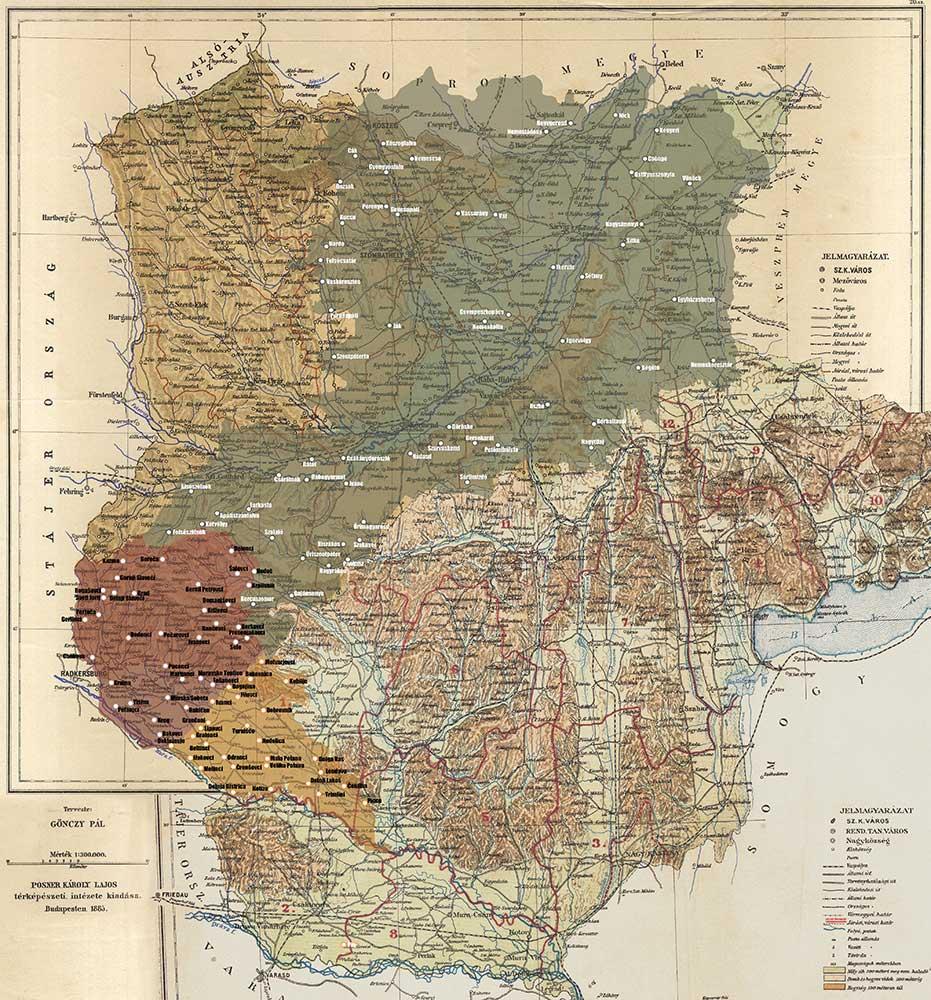 Zemljevid Železne in Zalske županije